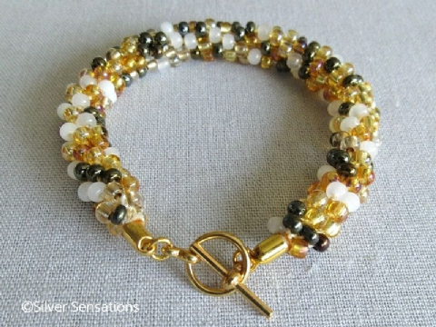Golden Yellow Mix Beaded Kumihimo Seed Bead Fashion Bracelet